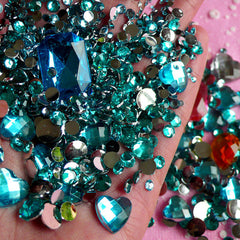 DEFECT AQUA BLUE Rhinestones Mix (2mm 3mm 4mm 5mm 6mm 10mm) Round and Heart Faceted Rhinestones Cabochons Mix (Over 1000 pcs) RHM012