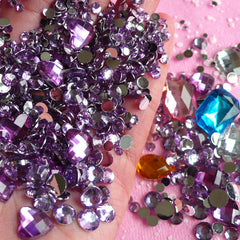 Rhinestones Mix (2mm 3mm 4mm 5mm 6mm 10mm) LIGHT PURPLE Round and Heart Faceted Rhinestones Cabochons Mix (Over 1000 pcs) RHM013