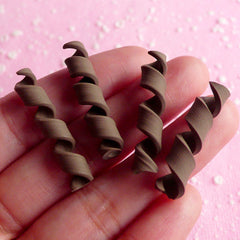 Chocolate Curl Fimo Cabochons (4 pcs / 6mm x 32mm) Fake Toppings Polymer Clay Chocolate Swirls Miniature Food Craft Faux Sweets Deco FCAB013