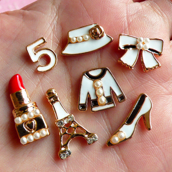 Paris Fashion Cabochon w/ Pearl (7pcs / 10mm to 19mm / White / Eiffel Tower Highheel Lipstick Clothes Ribbon Lady Hat) Scrapbooking CAB139