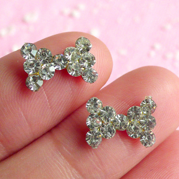 Tiny Bow Bowtie Cabochon Set (2pcs) (Clear Rhinestones) Fake Miniature Cupcake Topper Earring Making Nail Art Decoration Scrapbooking NAC019