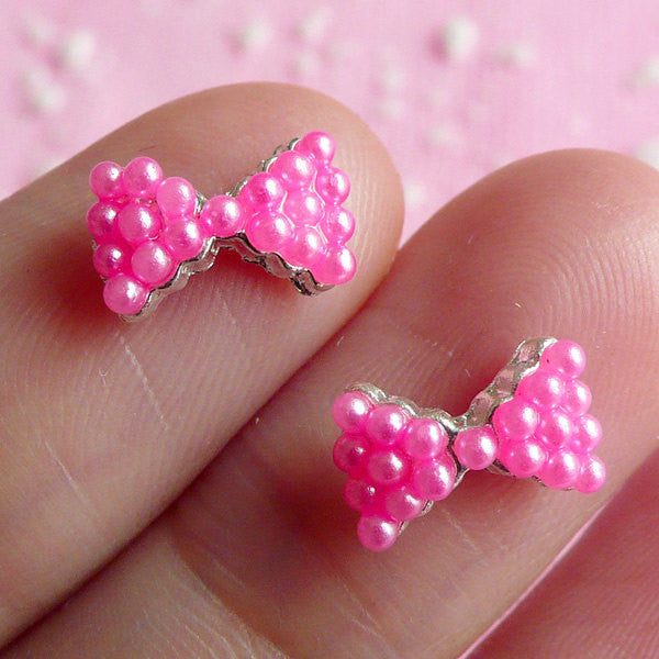 Tiny Bow Bowtie Cabochon Set (2pcs) (Silver w/ Pink Pearl) Fake Miniature Cupcake Topper Earring Making Nail Art Deco Scrapbooking NAC022