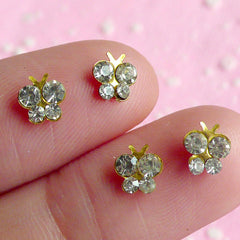 Tiny Butterfly Cabochon Set (4pcs) (Gold with Clear Rhinestones) Fake Miniature Cupcake Topper Jewelry Nail Art Nail Decoration NAC026