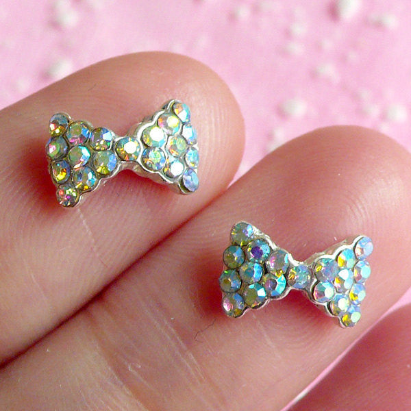 CLEARANCE Tiny Bow Bowtie Cabochon Set (2pcs) (Silver w/ AB Clear Rhinestones) Fake Miniature Cupcake Topper Earring Making Nail Art Decoration NAC017