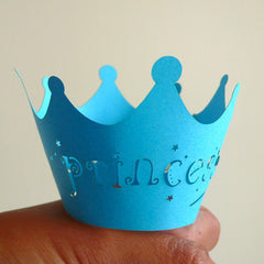 Cupcake Wrappers - Blue Princess - Laser Cut Blue Cupcake Wrapper - Cake Deco / Cupcake Decoration / Packaging (6pcs) CUP06