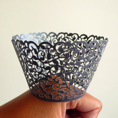 Cupcake Wrappers - Gray / Grey Lace - Laser Cut Green Cupcake Wrapper - Cake Deco / Cupcake Decoration / Packaging (6pcs) CUP29