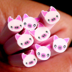 Pig Fimo Cane Pink Animal Polymer Clay Cane Kawaii Nail Art Nail Deco Nail Decoration Scrapbooking Earrings Making CAN022