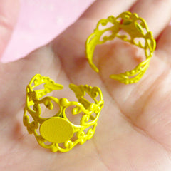 Ring Blank Adjustable / Filigree Ring Base Findings w/ 8mm Pad (2 pcs / Yellow) Jewelry Making Jewellery Findings Ring Making Supplies F022