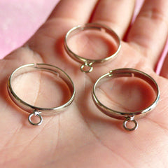 Dangle Ring Blank / Adjustable Dangling Ring Base (5pcs / Silver) DIY Dangle Charm Ring Statement Ring Making Supplies Jewelry Findings F035
