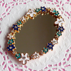 CLEARANCE Mirror Cabochon w/ Flower & Rhinestones / Dollhouse Mirror (Oval / 44mm x 63mm) Kawaii Cellphone Deco Big Cab Phone Case Decoden CAB001