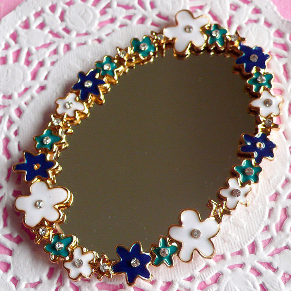 Floral Mirror Cabochon w/ Clear Rhinestones / Miniature Wall Mirror (Oval / 57mm x 80mm) Big Metal Cabochon Kawaii Decoden Piece CAB003