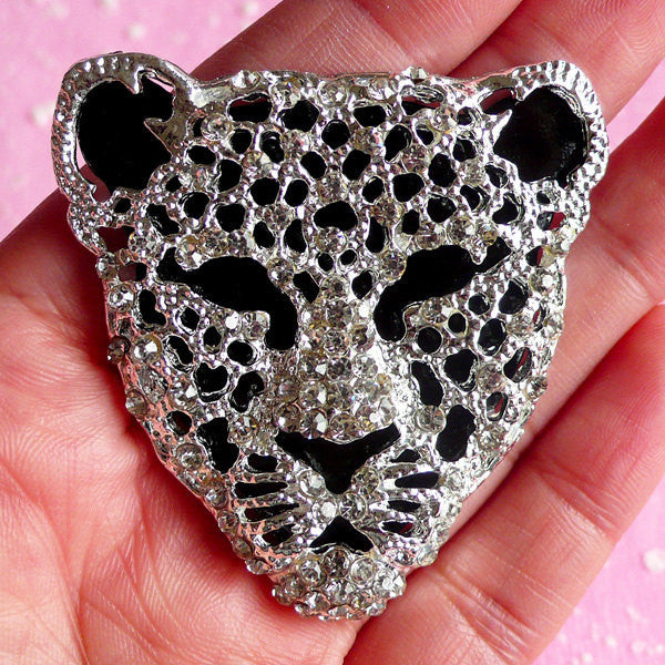 Rhinestones Leopard Cheetah Tiger Cabochon Jaguar Big Cat Animal Metal Cabochon (Silver / 50mm x 51mm) Bling Bling Phone Decoration CAB006