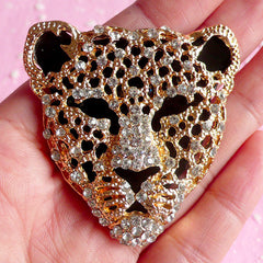 Leopard Metal Cabochon Rhinestones Animal Tiger Cheetah Jaguar Cabochon (Gold / 46mm x 48mm) Bling Decoden Piece Punk Rock Metallic CAB005