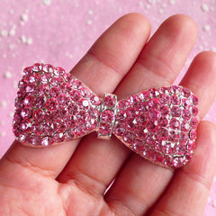 Metal Bow Tie Cabochon / Rhinestone Bow Cabochon (26mm x 57mm / Pink) Decoden Phone Case Kawaii Deco Bling Bling Shoe Clip Making CAB008