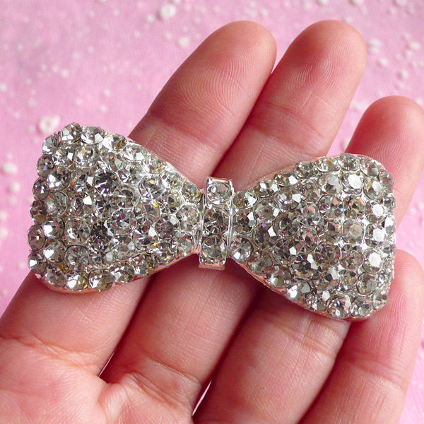 Big Bow Metal Cabochon w/ Clear Rhinestones (26mm x 57mm / Silver) Bowtie Cell Phone Deco Bling Decoden Supplies Kawaii Decoration CAB007