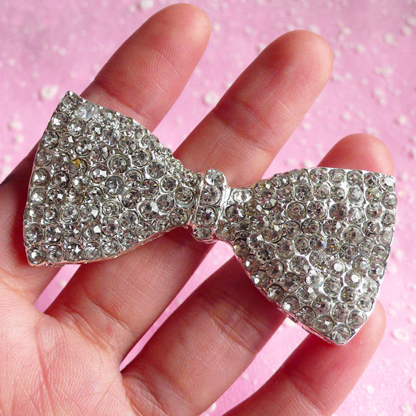 Rhinestone Bowtie Cabochon / Large Bow Tie Metal Cabochon (32mm x 64mm / Silver) Kawaii Decoden Bow Sparkle Bling Bling Embellishment CAB009