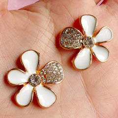 Metal Flower Cabochons w/ Rhinestones (2pcs / 26mm / Gold & White Enamel) Phone Case Deco Floral Hair Bow Center Applique Bling Decor CAB013