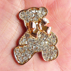 Rhinestone Bear Toy Cabochon with Ribbon / Metal Animal Cabochon (28mm x 34mm / Gold) Bling Bling Decoden Piece Kawaii Phone Case CAB010