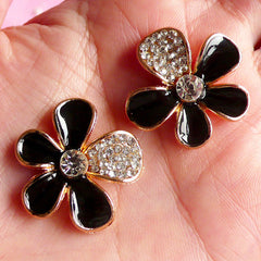 Black Flower Metal Cabochon with Rhinestones (2pcs / 26mm / Gold & Black Enamel) Floral Decoden Bling Bling Cell Phone Deco Scrapbook CAB015