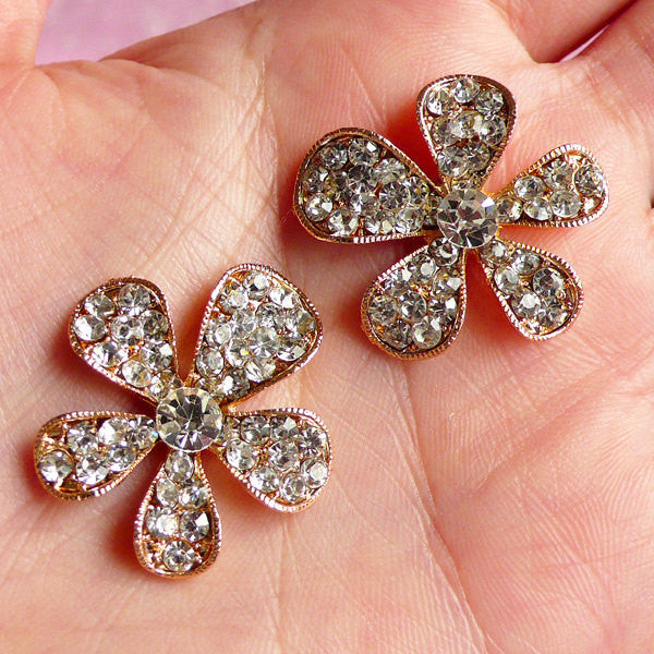 Rhinestone Flower Applique Floral Metal Cabochon (2pcs / 26mm / Gold) Bling Bling Decoden Hair Bow Center Embellishment Wedding Decor CAB016