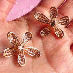 Flower Rhinestone Cabochon with Pearl / Floral Metal Applique (2pcs / 27mm x 32mm / Gold) Bling Bling Embellishment Wedding Jewelry CAB017