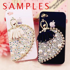 CLEARANCE Ballerina Applique Rhinestone Ballet Dancer with Fabric Tutu Metal Cabochon Pendant (White / 38mm x 58mm) Cell Phone Decoden Supplies CAB019