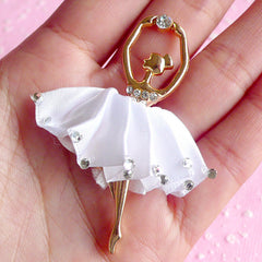 Ballerina Applique Rhinestone Ballet Dancer with Fabric Tutu Metal Cabochon Pendant (White / 38mm x 58mm) Cell Phone Decoden Supplies CAB019