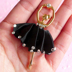 Ballet Dancer Cabochon Rhinestone Ballerina in Satin Tutu Metal Cabochon Charm (Black / 38mm x 58mm) Phone Decoration Scrapbooking CAB020