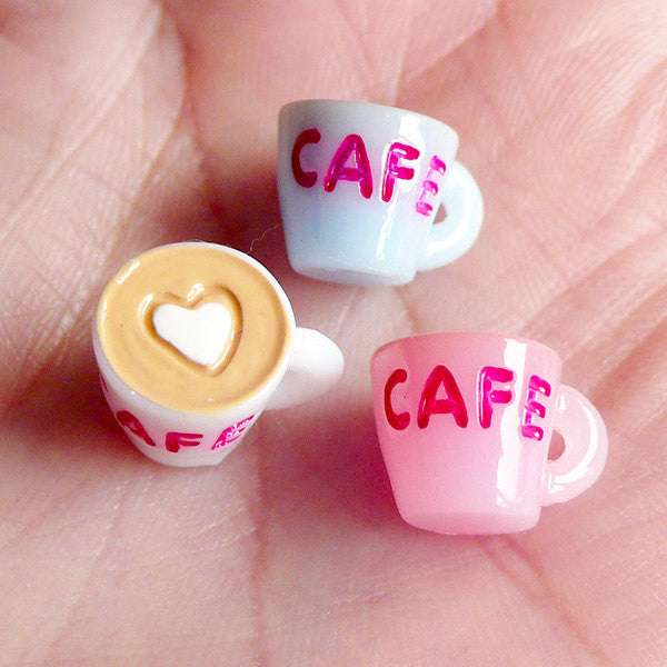 3D Miniature Coffee Cup Cabochons (3pcs / 13mm x 8mm) Kawaii Miniature Sweets Decoden Charms Dollhouse Cafe Whimsy Novelty Jewelry FCAB002