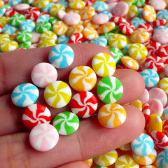 Fake Peppermint Candy Cabochon (12 pcs / 9mm / Rainbow) Miniature Candy Cupcake Topping Polymer Clay Sweets Deco Decoden Phone Case FCAB019