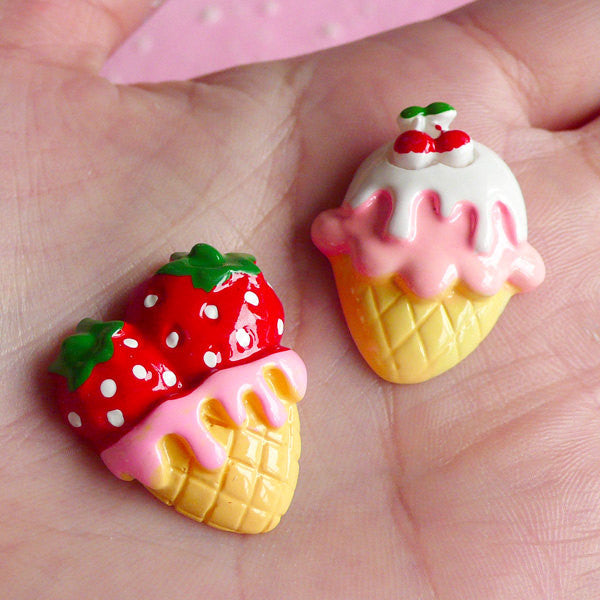 Kawaii Strawberry Ice Cream Cabochons (2pcs / 22mm x 26mm / Flat Back) Miniature Sweets Deco Embellishment Japan Decoden Supplies FCAB024