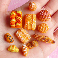 Dollhouse Bread Cabochons (11pcs / Assorted Mix) Kawaii Miniature Sweets Mini Bakery Cabochon Fake Food Jewelry Decoden Supplies FCAB025