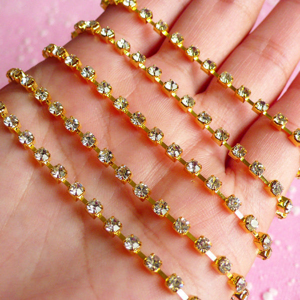 Rhinestones Chain 3mm SS12 (Gold Plated w/ Clear Rhinestones) (20cm Long) Wedding Jewelry Making Bling Bling Deco Decoration RC06