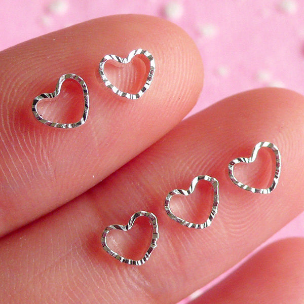 Tiny Heart Cabochon Set (Silver) (5pcs) Fake Miniature Cupcake Topper Nail Art Decoration Scrapbooking NAC013