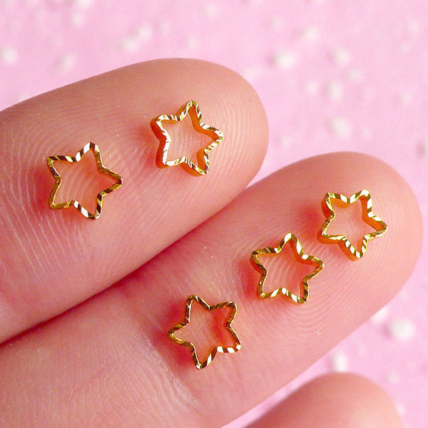 Tiny Star Cabochon Set (Gold) (5pcs) Fake Miniature Cupcake Topper Nail Art Decoration Scrapbooking NAC014