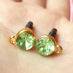 Dust Plug Charm DIY / Ear Phone Plug Decoden / Earphone Jack Deco / Cellphone Dust Plug with Rhinestone (w/ Hole / 2pcs / Green, Gold) EJ22