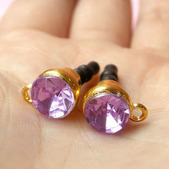 Cell Phone Dust Plug / Ear Phone Jack Plug / Earphone Plug / iPhone Charm Plug w/ Rhinestone (w/ Hole / 2pcs / Light Purple, Gold) EJ23