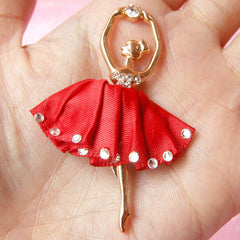 Metal Ballerina Charm / Ballet Dancer Pendant in Fabric Ballet Dress & Rhinestones / Bling Bling Decoden Cabochon (Red / 38mm x 58mm) CAB103