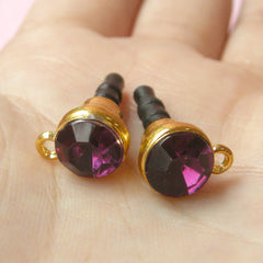 Ear Phone Jack Dust Plug / Earphone Plug / Cell Phone Plug / Mobile Phone Charm Plug w/ Rhinestone (w/ Hole / 2pcs / Dark Purple, Gold) EJ24