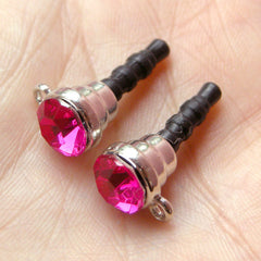 Ear Phone Dust Plug / Earphone Jack Pin / Cellphone Dust Plug / Phone Charm Plug w/ Rhinestone (w/ Hole / 2pcs / Dark Pink, Silver) EJ29