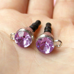 iPhone Dust Plug / Earphone Jack Dust Plug / Ear Phone Plug / Mobile Charm Plug w/ Rhinestone (w/ Hole / 2pcs / Light Purple, Silver) EJ30