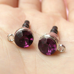 Cell Phone Dust Plug / Ear Phone Jack / Earphone Dust Plug / iPhone Charm Plug w/ Rhinestone (w/ Hole / 2pcs / Dark Purple, Silver) EJ31