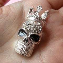 Alloy Metal Skull Cabochon with King Crown (17mm x 37mm / Silver with Clear Rhinestones) Rock Embellishment Punk Cell Phone Deco CAB106