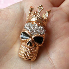 King Skull Metal Cabochon / Crown Skull Alloy Cabochon (17mm x 37mm / Gold with Clear Rhinestones) Punk Rock Decor Decoden Phone Case CAB107