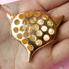Bling Bling Decoden Cabochon / Rhinestone Fox Metal Cabochon (Gold / 50mm x 44mm) Animal Decor Sparkle Jewellery Sewing Supplies CAB105