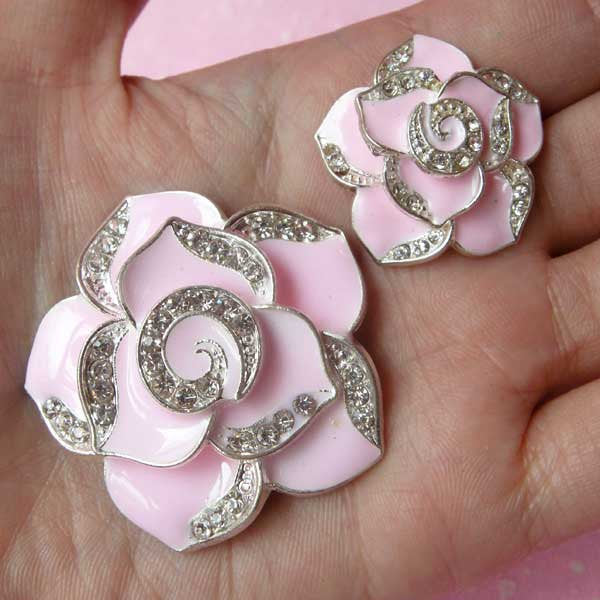 Flower Rose Cabochon / Rhinestone Metal Cabochon (2pcs / Light Pink, Silver / 27mm & 42mm) Bling Bridal Bridesmaid Jewelry Making CAB118