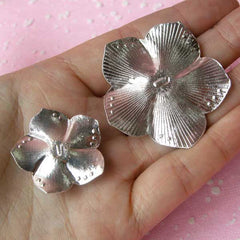 Metal Rose Flower Cabochon (2pcs / Light Red, Silver with Clear Rhinestones / 27mm & 42mm) Floral Decoden Bling Bling Decoration CAB292