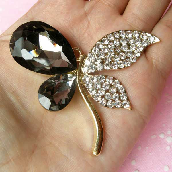 Metal Butterfly Cabochon / Large Insect Cabochon (Gold with Black & Clear Rhinestones / 62mm x 53mm) Decoden Supplies Bling Decor CAB122
