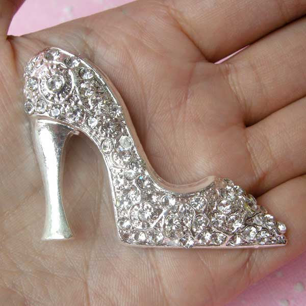 Rhinestones High Heel Metal Cabochon (Silver / 53mm x 39mm) Bling Bling Jewelry Making Decoden Cell Phone Deco Fashion Embellishment CAB114