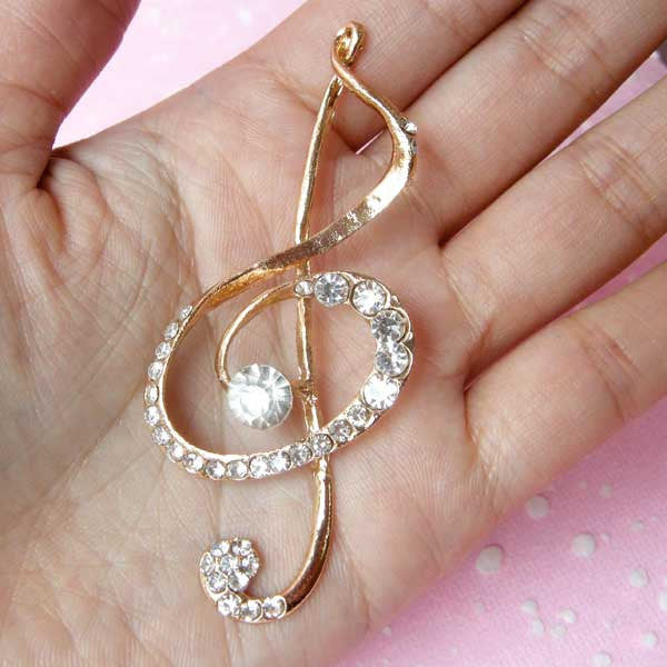 CLEARANCE Rhinestones G Clef Cabochon / Music Note Musical Symbol Metal Cabochon (Gold / 32mm x 72mm) Jewelry Making Bling Bling Decoden Piece CAB115
